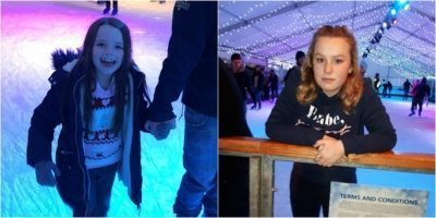 Young carers Chloe, left, and Shania, right, enjoying their first ever ice skating session.